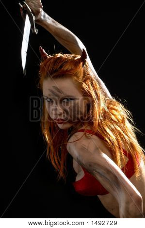 Red Devil Girl With A Knife