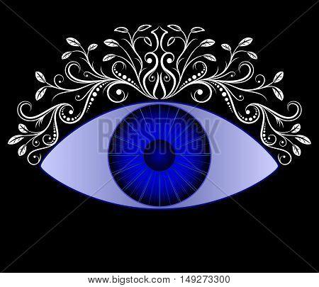 Blue eye. Vintage floral caligraphy ornaments. Vector illustration.