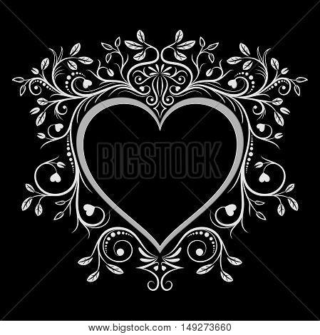 Heart frame. Vintage floral caligraphy ornaments. Vector illustration.