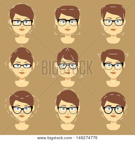 Different glasses shapes suitable for different women faces vector infographic. Form glasses of square oval and triangle illustration