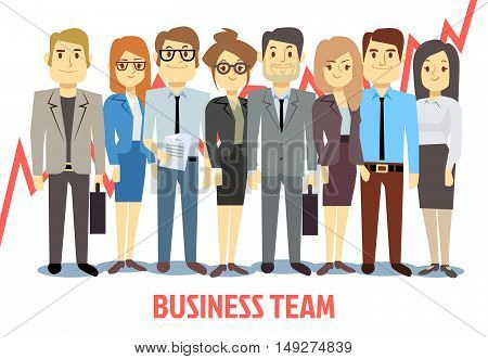 Business team vector concept with man and woman standing together. Teamwork professional partnership and cooperation illustration