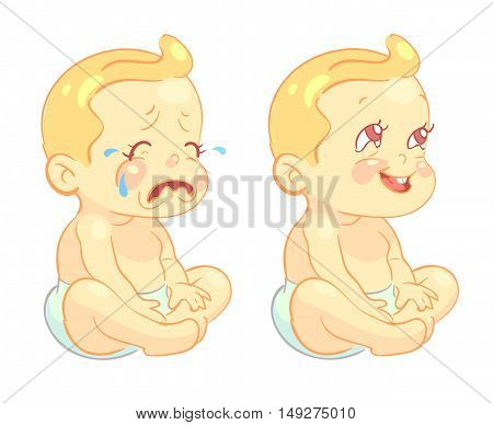 Smiling toddler baby and crying baby vector characters. Infant with happy mood and newborn crying illustration