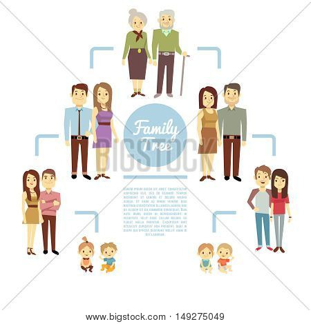 Family tree with people icons of four generations vector illustration. Father and mother, son and daughter