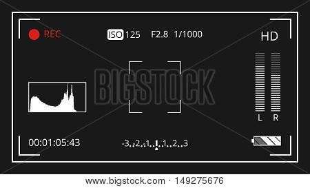 Photo camera recording screen vector illustration. Video screen and focus for photography
