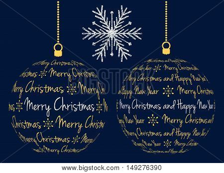 two vector christmas ball created from text merry christmas and happy new year and grunge snowflake isolated illustration on dark blue background