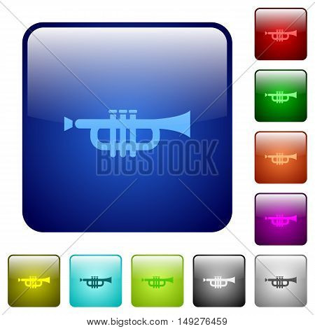 Set of trumpet color glass rounded square buttons