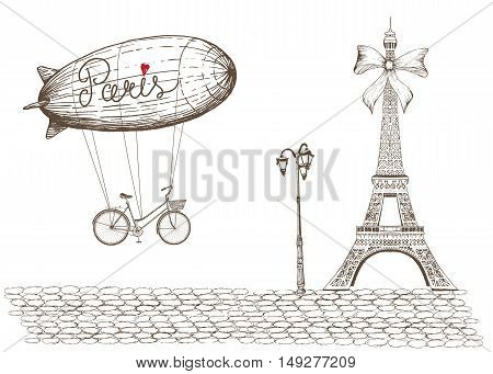 Vintage poster of Paris theme.Dirigible flying with bicycle