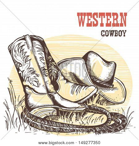 American Cowboy Boots And West Hat.