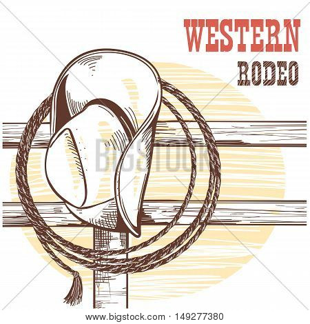 American West Cowboy Hat And Lasso On Wood Fence.rodeo Illustration