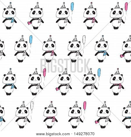 Seamless pattern with cute pandas. Wrapping paper for birthday, cloth. Sketch, doodles, design elements. Hand drawn pandas for your design  Vector.