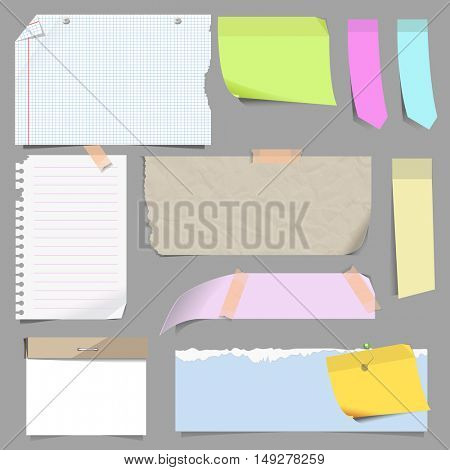 Vector set of blank note paper. Sheets of notepad for message and reminder. Crumpled and ragged sheets of paper, lined notepad pages. Illustration isolated on white background.
