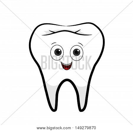 Tooth Cartoon. A hand drawn vector cartoon illustration of a happy tooth.