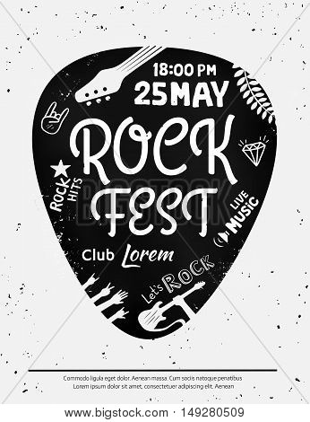 Vintage rock festival poster with Rock and Roll icons on grunge background. Vector format