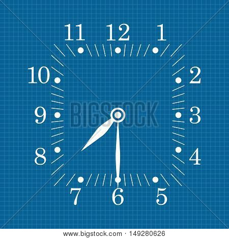 Clock dial on blueprint background. Seven thirty. Vector illustration