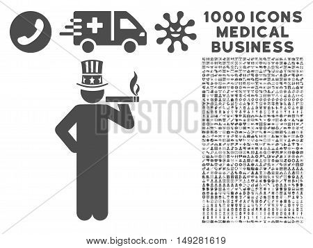 Gray Capitalist icon with 1000 medical business vector pictograms. Set style is flat symbols, gray color, white background.