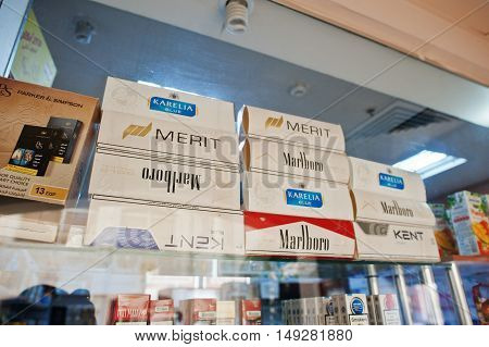 Hurghada, Egypt -20 August 2016: Blocks Of  Different Cigarettes In Shop Window