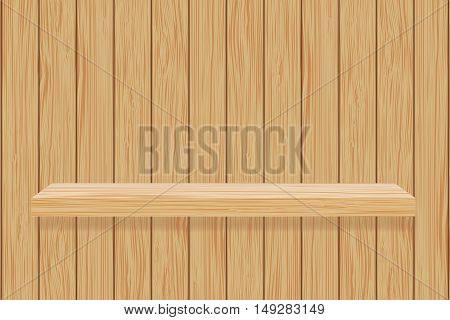 Book shelf on wooden wall. Brown wooden texture. Vector ilustration