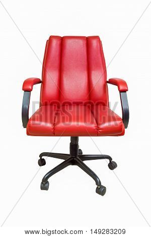 The office chair from red leather with casters isolated on white background.