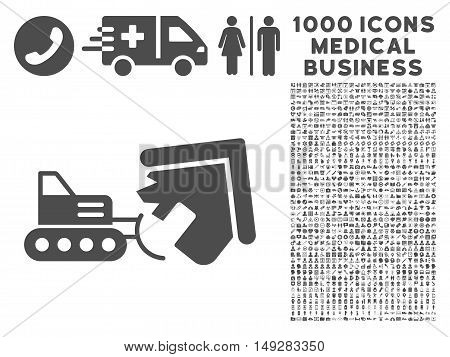 Gray Demolition icon with 1000 medical business vector pictograms. Set style is flat symbols, gray color, white background.