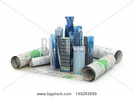 concept of building cities for business publications. the city is located in the drawings. 3d illustration