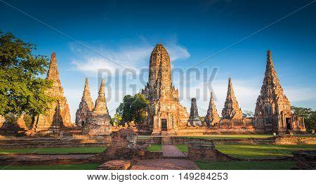 Landscape Ayutthaya Historical Park In Ayutthaya, Thailand...