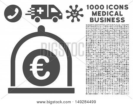 Gray Euro Standard icon with 1000 medical business vector pictographs. Design style is flat symbols, gray color, white background.