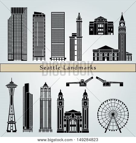 Seattle landmarks and monuments isolated on blue background in editable vector file