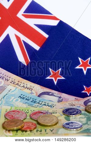 New Zealand coins and notes with the NZ flag.