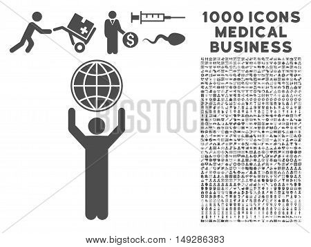 Gray Globalist icon with 1000 medical business vector design elements. Collection style is flat symbols, gray color, white background.