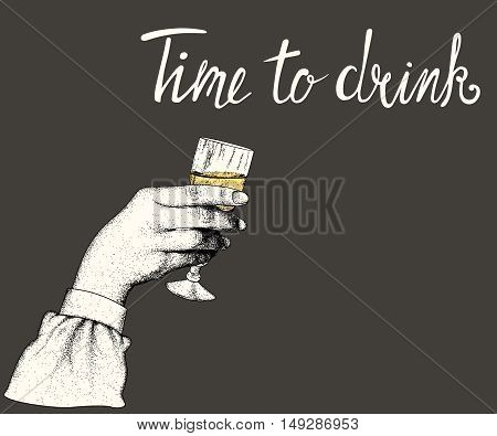 Woman hand hold a glass of alcohol drink on black background.Vector vintage illustration