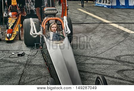 Norway Drag Racing, Driver In A Black Race Car Front View