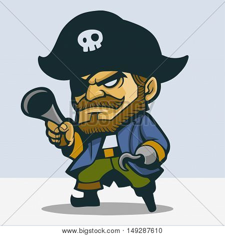 One legged pirate carrying flintlock pistol cartoon drawing in vector