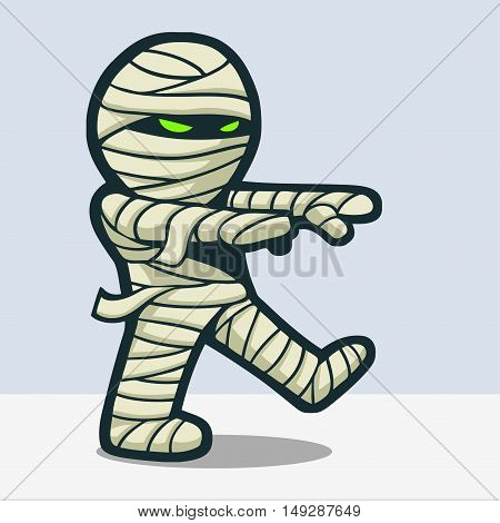 Funny mummy cartoon walking with from the death