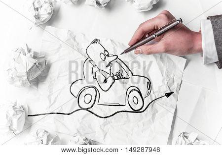 Designer draw caricature . Mixed media
