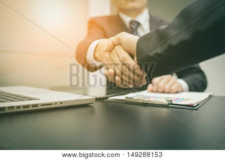 Business Man. Business handshake and business people vintage tone. Business shake hand. Business working. Business room. Business office.