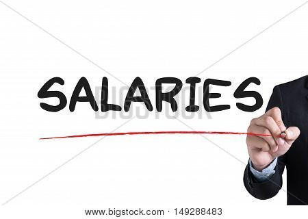 SALARIES Businessman hand writing with black marker on white background poster