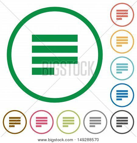 Set of Text align justify last row left color round outlined flat icons on white background