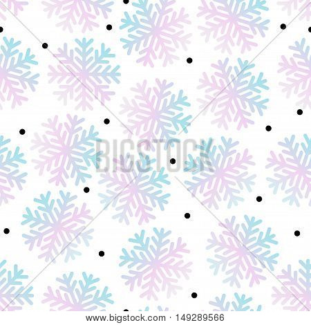 Vector Seamless Winter Background With Snowflakes Pattern. Holography Effect