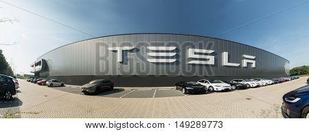 TILGURG, NETHERLANDS - SEPTEMBER 25, 2016: Tesla Motors Assembly Plant in Tilburg, Netherlands.