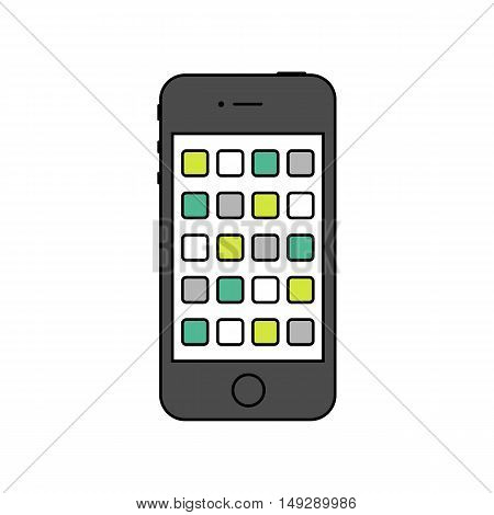 smartphone icon in the style thin line flat design isolated on white background. stock vector illustration eps10