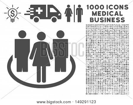 Gray Society icon with 1000 medical business vector pictographs. Set style is flat symbols, gray color, white background.