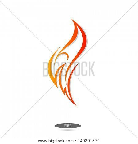 Logo flame of fire. Element for design. Vector illustration.