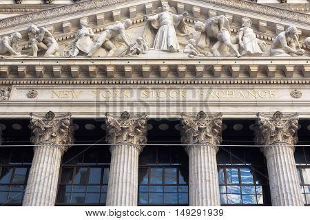 The New York Stock Exchange in Manhattan Finance district on Circa June, 2016 in New York, USA
