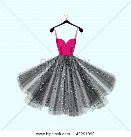 Dress with rhinestones. Vector fashion illustration. Dress for special event.