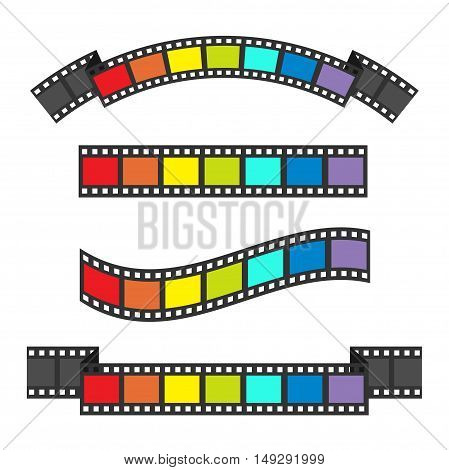 Rainbow flag Film strip frame set. Different shape ribbon. Design element. White background. LGBT Gay movie cinema sign symbol. Isolated. Flat. Vector illustration
