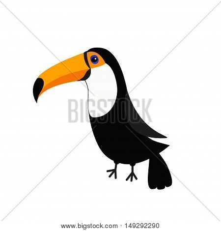 Toucan Toco Big yellow beak. Beautiful Exotic tropical bird. Zoo baby animal collection. Cute cartoon character. Decoration element. Flat design. White background. Isolated. Vector illustration