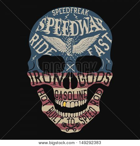 Vintage label with skull .Grunge effect.USA flag on it.Prints design for t-shirts