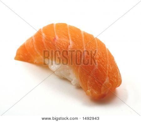 Salmon Sushi On White