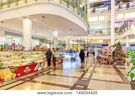 PRAGUE, CZECH REPUBLIC - DECEMBER 10, 2015: Palladium mall decorated for Christmas holidays - one of the most popular shopping destination in Prague, has 5 floors, 184 shops and 23 restaurants.