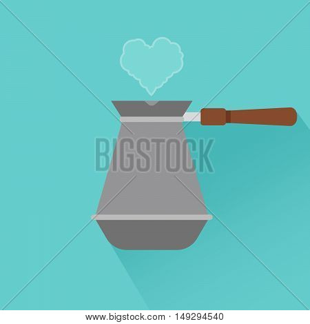 Coffee maker flat modern icon with shadow and heart. Vector illustration
